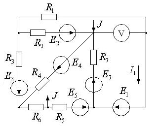 Схема 19. Разветвленная цепь постоянного тока.