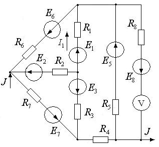 Схема 16. Разветвленная цепь постоянного тока.