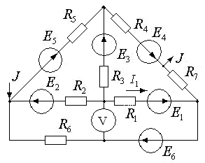 Схема 17. Разветвленная цепь постоянного тока.