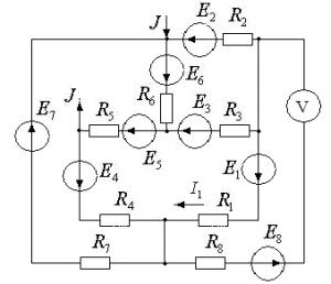 Схема 20. Разветвленная цепь постоянного тока.