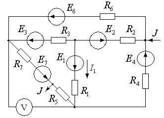 Схема 4. Разветвленная цепь постоянного тока.
