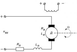 Электрическая схема двигателя постоянного тока независимого возбуждения