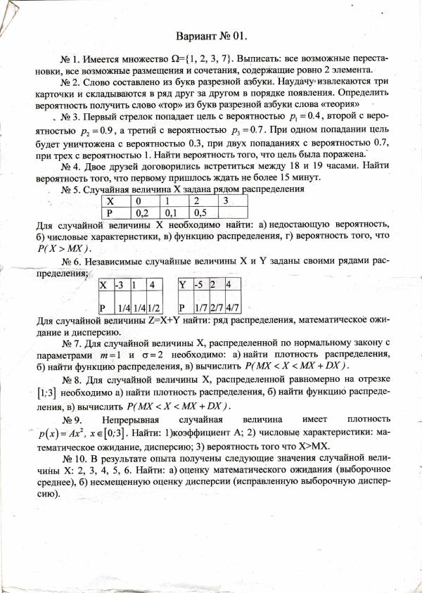 работы по теории вероятности и математической статистике Вариант  Решение работы по теории вероятности и математической статистике Вариант 1 МГУПИ